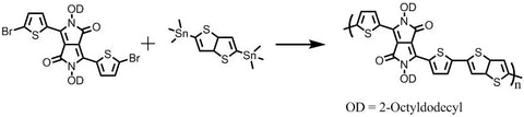 dppt-co-tt synthesis with 2,5-bis(trimethylstannyl)thieno[3,2-b]thiophene and  3,6-bis(5-bromothiophen-2-yl)-2,5-bis(2-octyldodecyl)pyrrolo[3,4-c]pyrrole-1,4(2H,5H)-dione