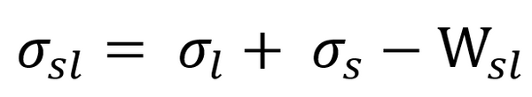Dupre's equation relating adhesion and interfacial tension