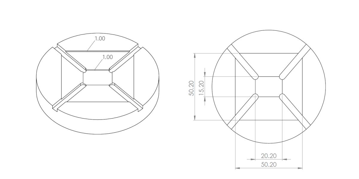 20mm x 15mm and 50mm spin coater chuck diagram