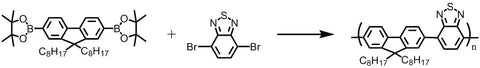 f8bt synthesis with 2,2'-(9,9-dioctyl-9H-fluorene-2,7-diyl)bis(4,4,5,5-tetramethyl-1,3,2-dioxaborolane) and 4,7-Dibromo-2,1,3-benzothiadiazole