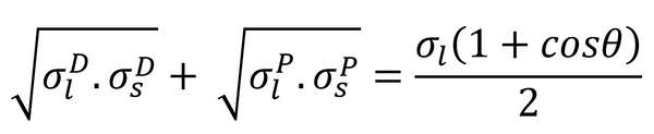 Fowkes equation relating interactions and young's equation