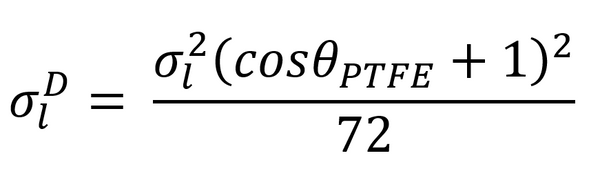 OWRK equation for calculating dispersive interactions from contact angle on PTFE