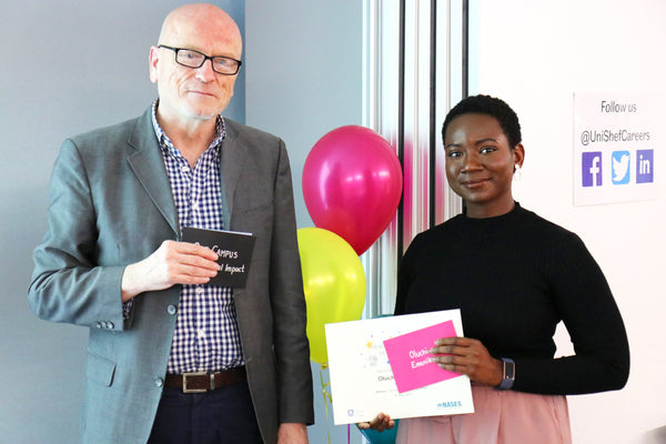 Oluchi Emenike being presented with the SEOTY award for commercial impact