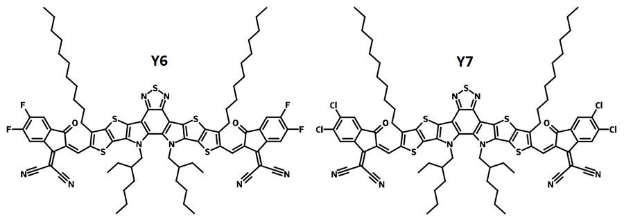Y6 (BTP-4F) and Y7 (BTP-4Cl) chemical structures