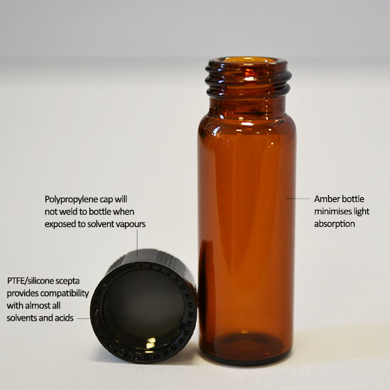 Amber vial with solvent safe PTFE lid