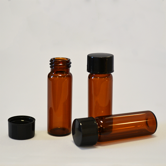 Amber vials with lids