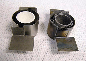 A new and old crucible heater side by side
