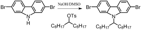 synthesis of dibromo-9-heptadecanylcarbazole using dibromocarbazole as starting material