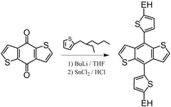 Synthesis of bis-2-ethylhexylthiophene-benzodithiophene using benzodithiophene as starting material