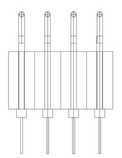 Four-point probe: technical illustration