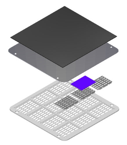 High-density OFET evaporation stack (exploded view)
