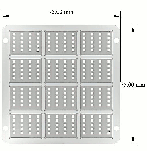 High density OFET active area evaporation mask (technical drawing)