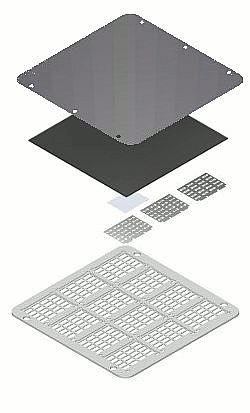 High density OFET evaporation stack (exploded view)