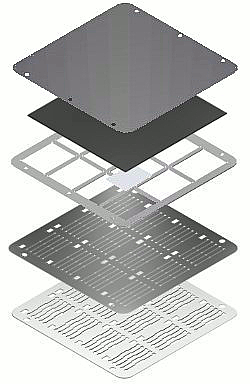 Low density evaporation stack (exploded view drawing)