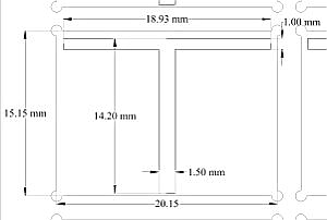 Low density OFET gate mask (dimensions)