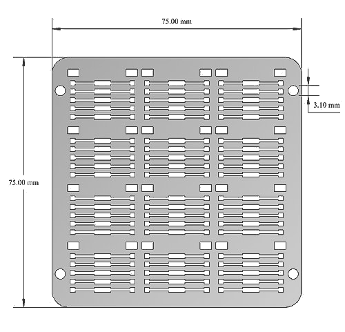 Low density stack: shadow mask support (technical drawing)