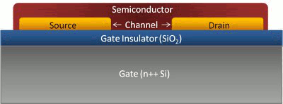 Bottom Gate Bottom Contact OFET on silicon gate with silicon oxide insulator