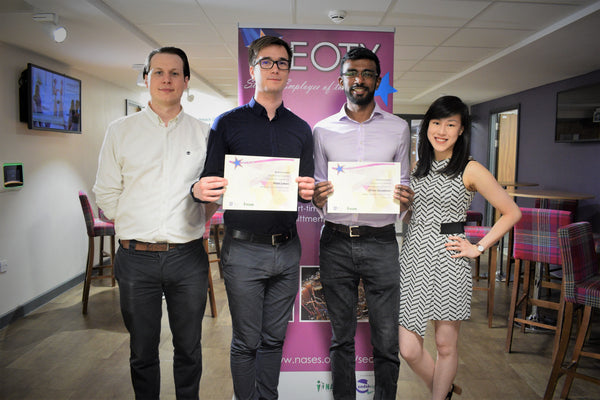 Ossila's Student Employee of the Year winners (Mate & Dhilan, centre)