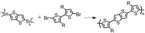 pbttt synthesis with 2,5-bis(trimethylstannyl)thieno[3,2-b]thiophene and 5,5'-dibromo-4,4'-didodecyl-2,2'-bithiophene or 5,5'-dibromo-4,4'-dihexadecyl-2,2'-bithiophene or 5,5'-dibromo-4,4'-ditetradecyl-2,2'-bithiophene