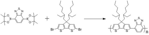 Synthesis of PCPDTBT from benzothiadiazole boronic ester