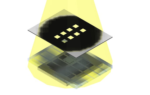 Photovoltaic substrate measured with aperture mask and illumination