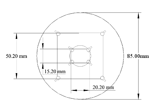 20mm x 15mm and 50mm spin coater chuck diagram with measurements