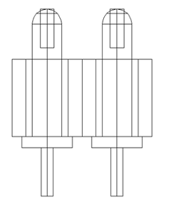 High density two point probe technical drawing