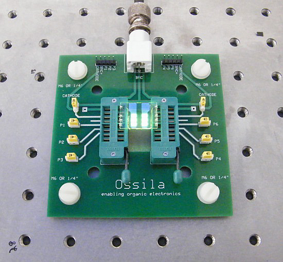 Testing an OLED using ZIF test board