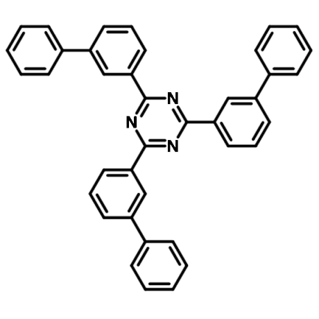 chemical structure of t2t, 2,4,6-tris(biphenyl-3-yl)-1,3, 5-triazine
