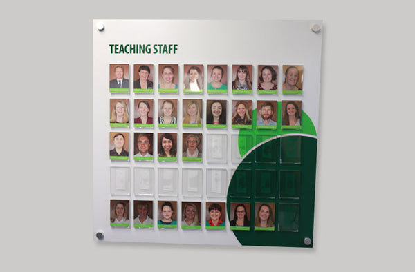 School staff display board - square