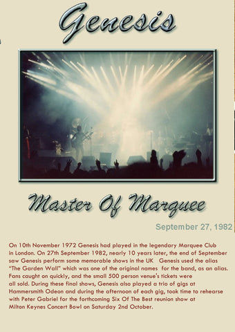 Genesis - Live At The Marquee Club, September 27, 1982