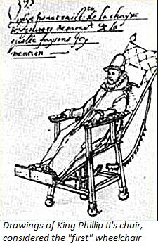 King Phillip II's wheelchair design, one of the first mobility devices