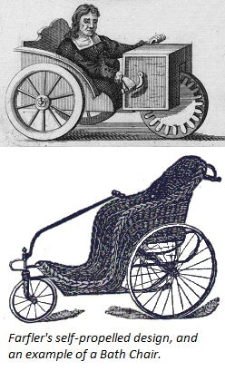Farfler's self-propelled mobility device and an early wheelchair known as the Bath Chair