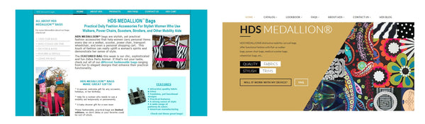 The original HDS Medallion Designer CarryAll Bags for Mobility Devices site compared to the new design.