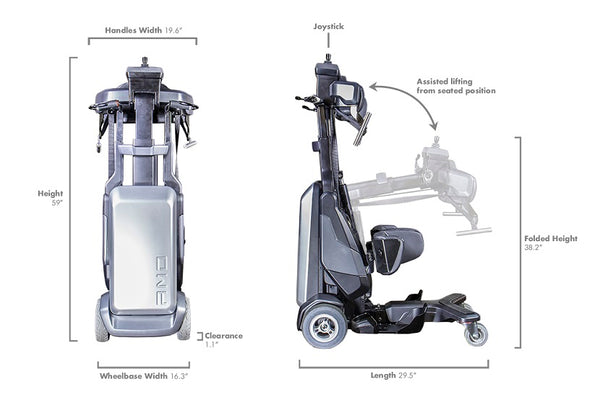 Specs for the TEK RMD, which works great with our HDS Medallion Designer CarryAll Bags for Mobility Devices!