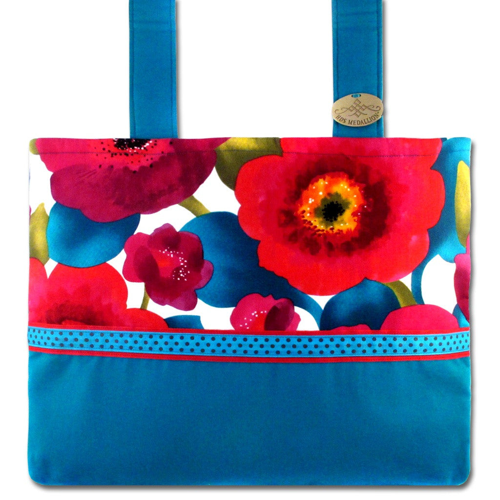 Blue Caribbean Flower-Print Mobility Bag  | HDS Medallion