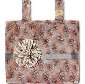 Gray Filigree Mobility Bag with Detachable Silver Flower