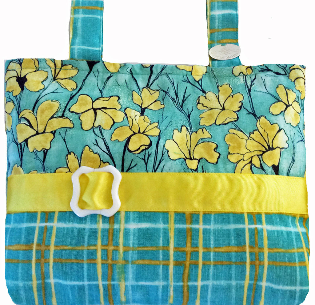Classic Yellow & Aqua Floral & Plaid Mobility Bag Spreads Sunshine Everywhere!