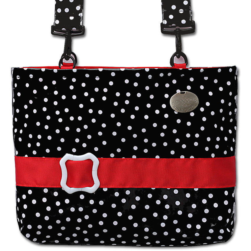 Black Polka Dot Bag  for Chairs & Walkers Has Waterproof Fabric