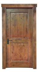 Knotty Alder 2 Panel Door with Scorped Panels.  Finished