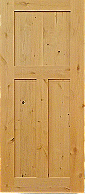 Alder 3 panel door - unfinished