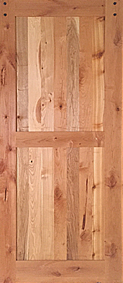 Knotty Alder - Barn Door - 2 Panel - Mixed hardwood panels - Finished