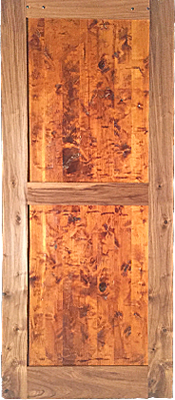 Rustic Walnut - Barn Door - Scorped - 2 panels of Alder - Finished