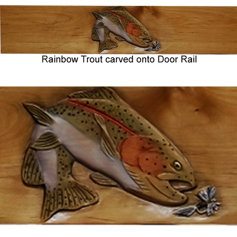 Rainbow Trout carved on Alder Door Rail