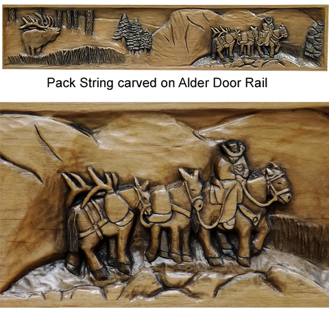 Pack String carved on Alder Door Rail