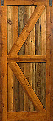 Knotty Alder - Barn Door - Mixed hardwood panels - Finished