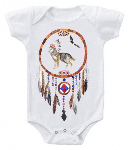 Native American Wolf & Eagle Dreamcatcher graphic baby bodysuit/tee