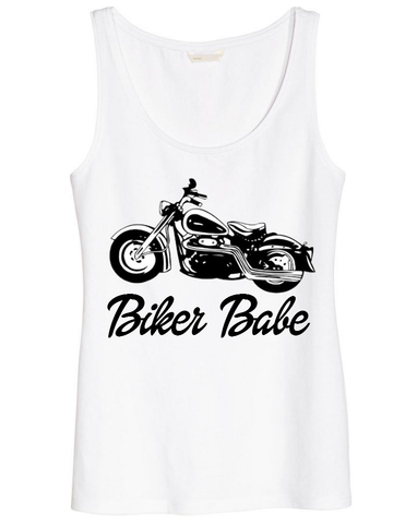 Ladies Biker Babe Graphic Vintage Motorcycle Tank