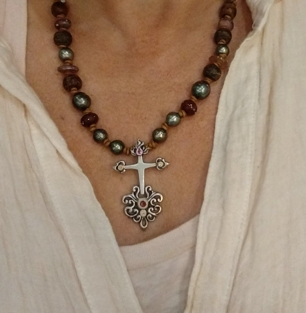 Sacred Cross + Pearls Necklace
