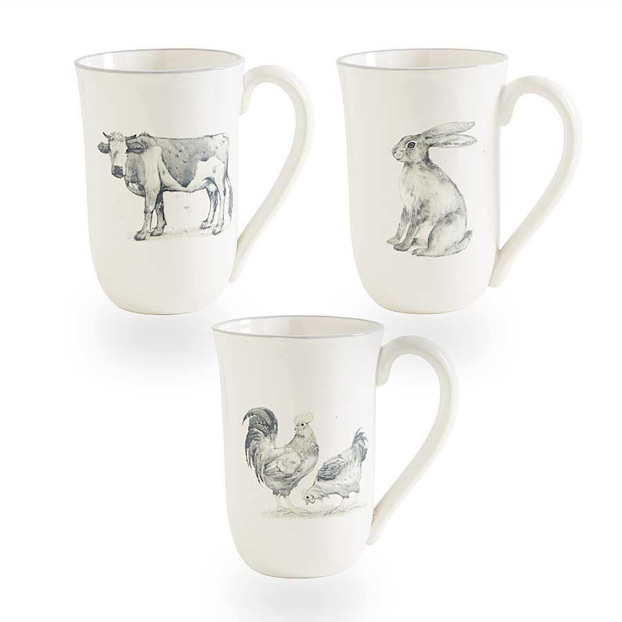 White Ceramic Mugs with Assorted Animals /Set of 3
